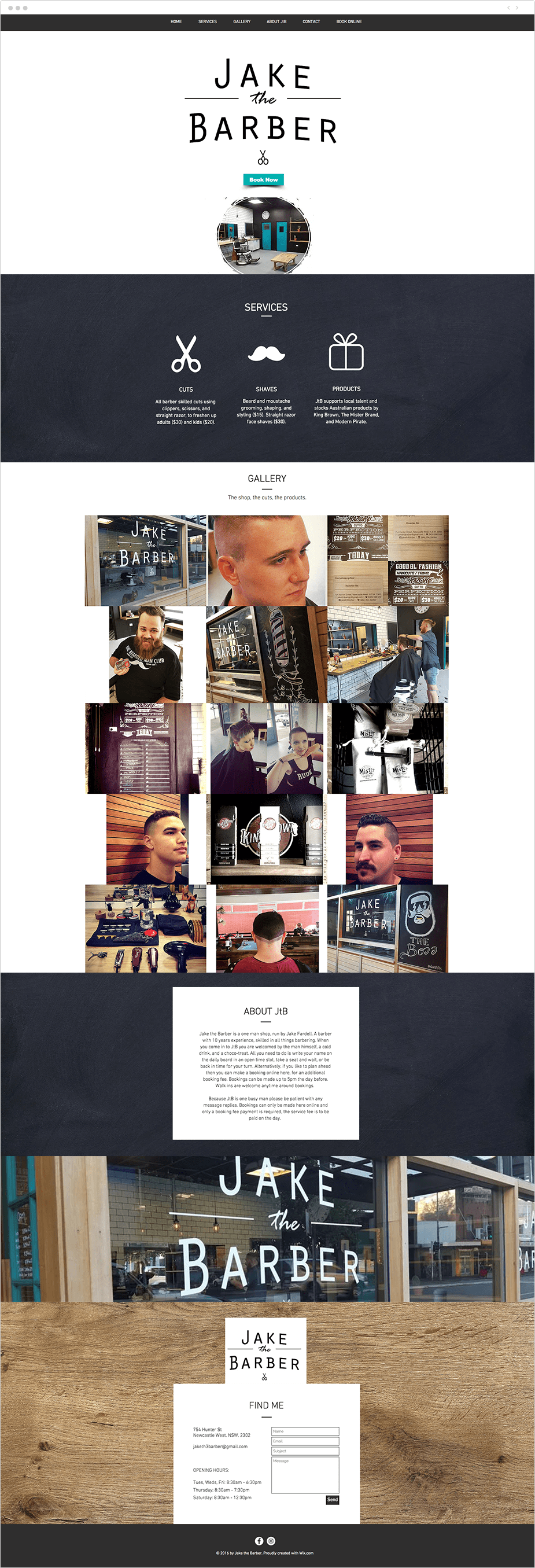 Wix Bookings website: Jake the barber