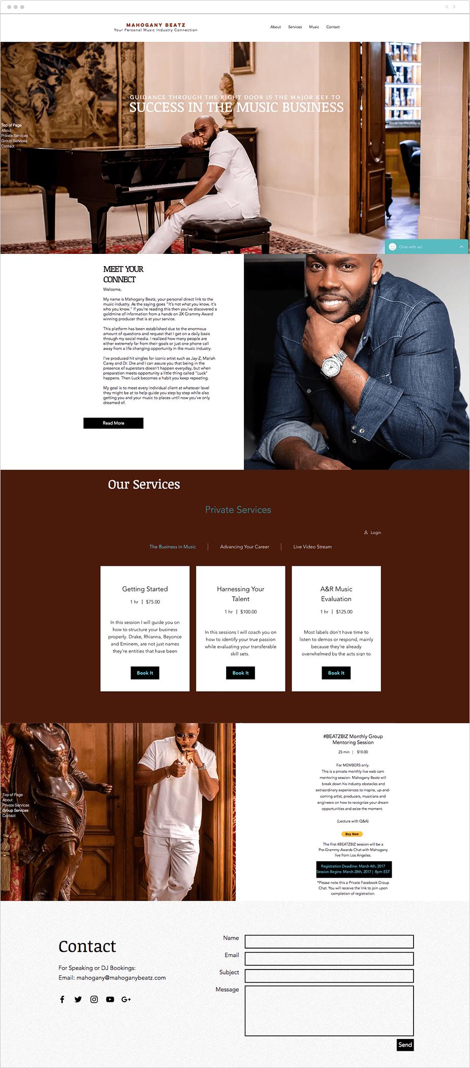Wix Bookings website: Mahogany Beatz