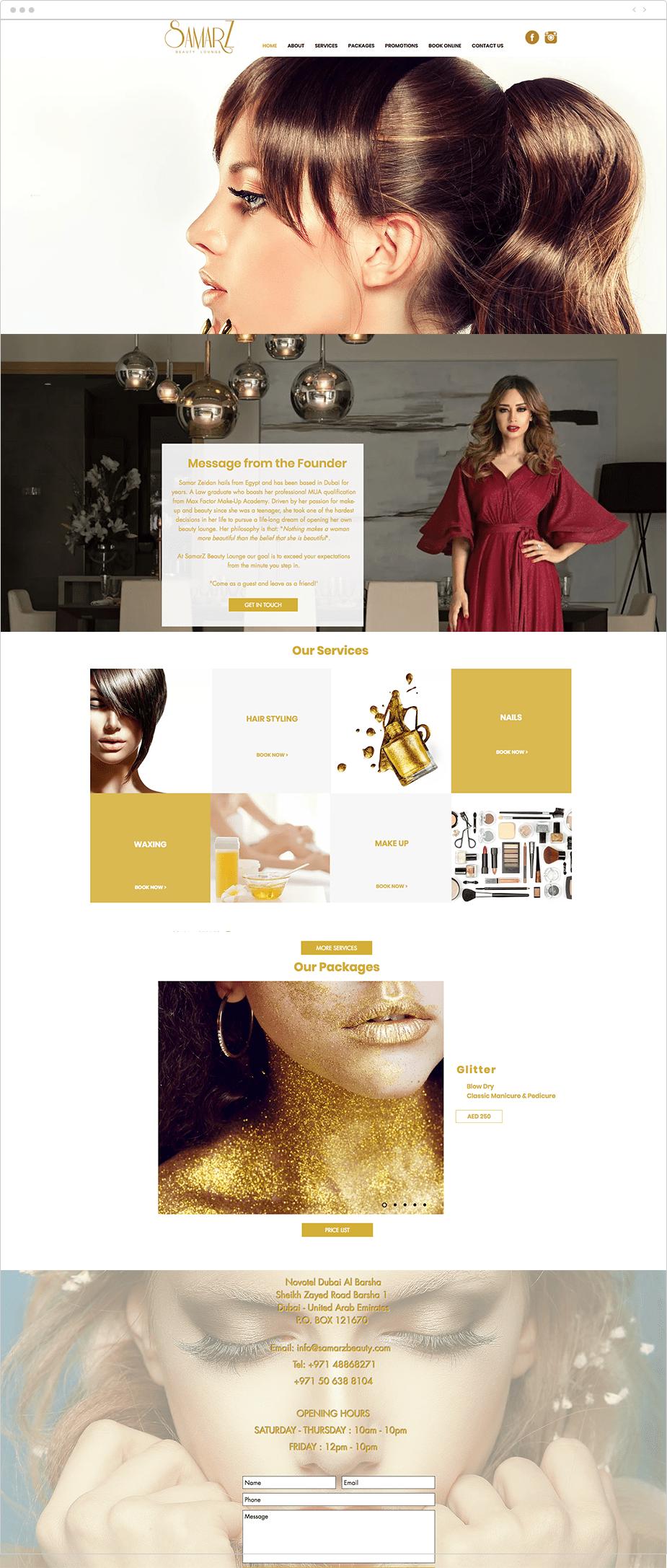 Wix Bookings website: Samarz Beauty