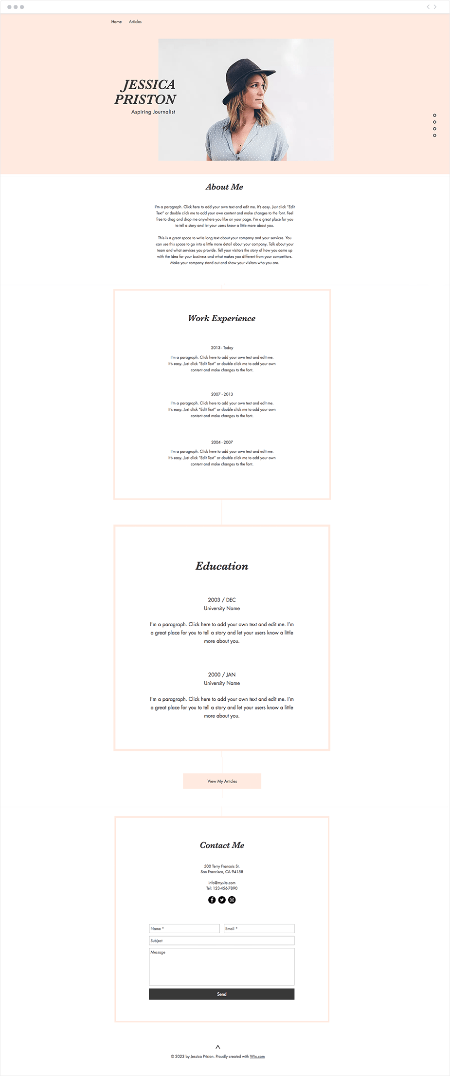 journalist CV resume website template