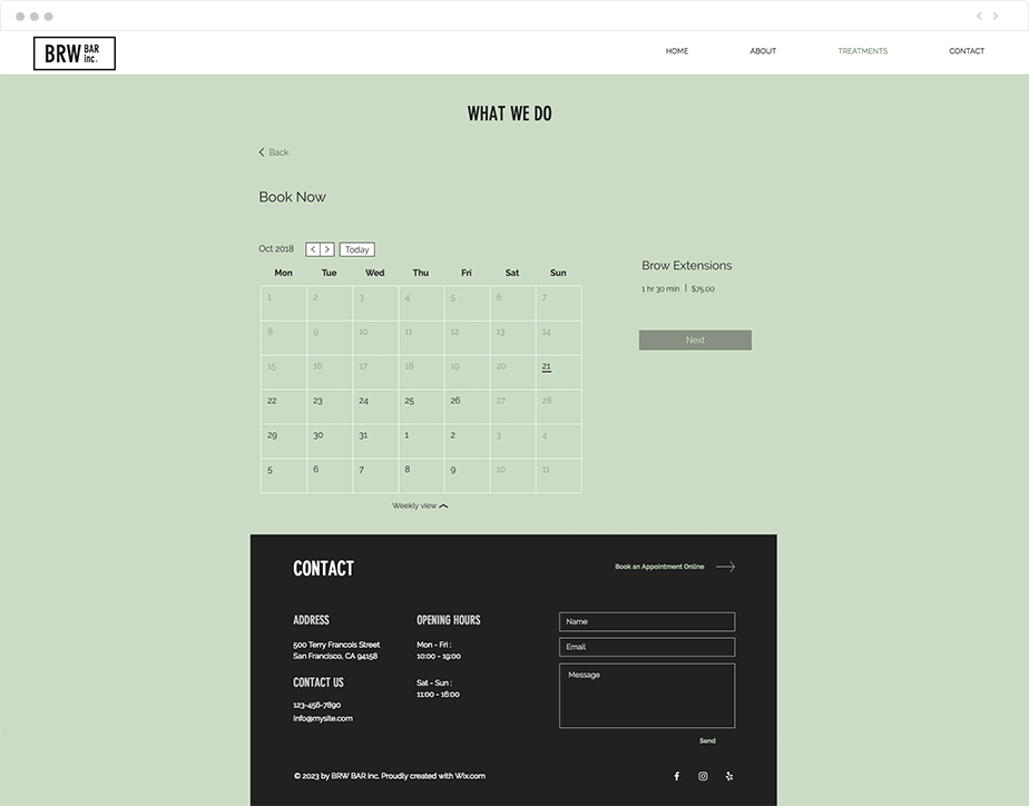 Wix Bookings schedule