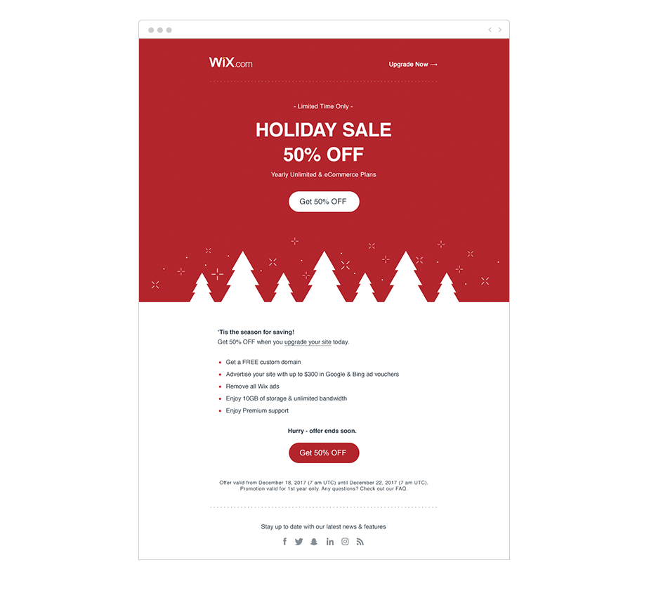 Wix Shoutout Email holiday marketing ideas
