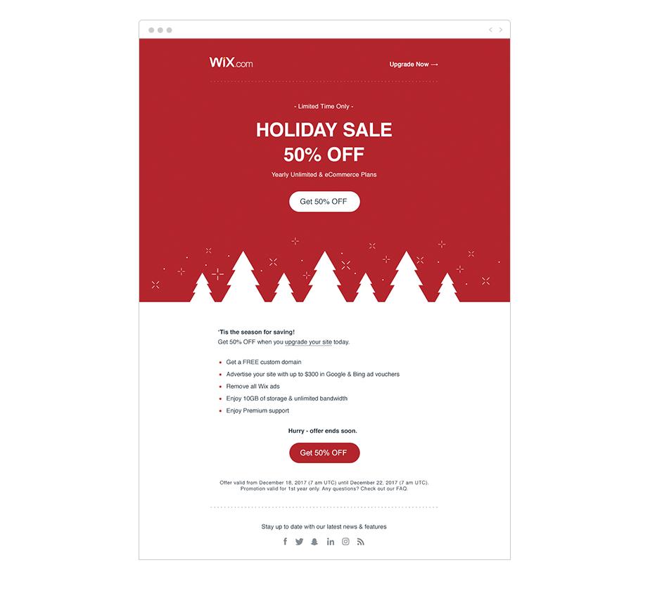 Wix Shoutout Email holiday marketing ideas