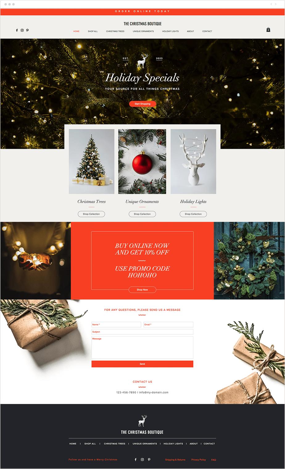 Christmas boutique website template