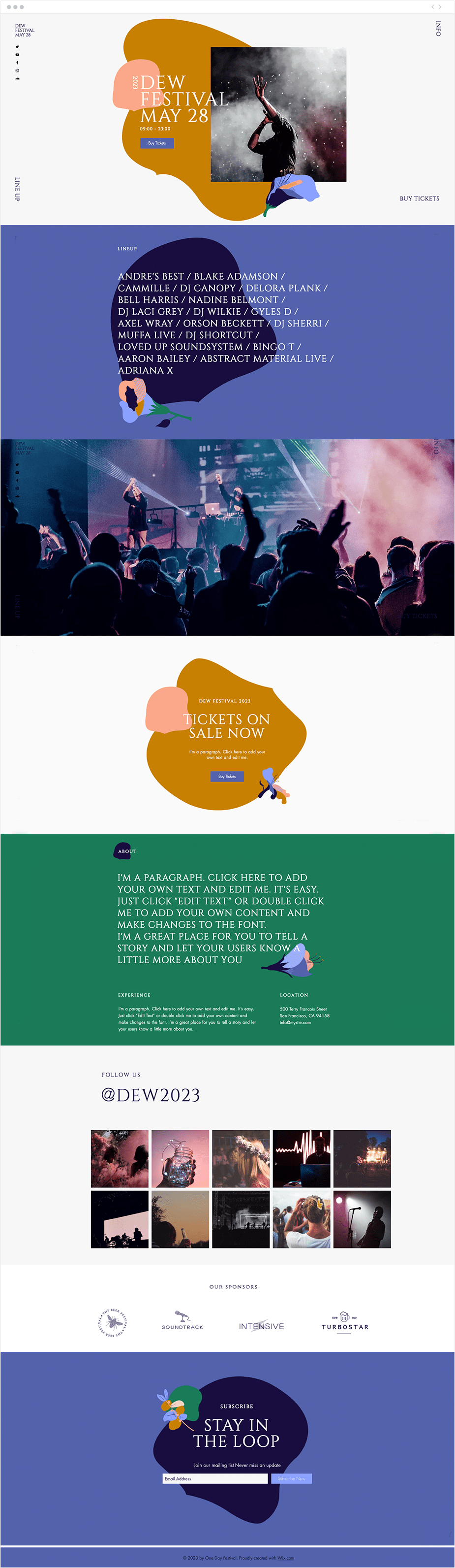One day festival website template