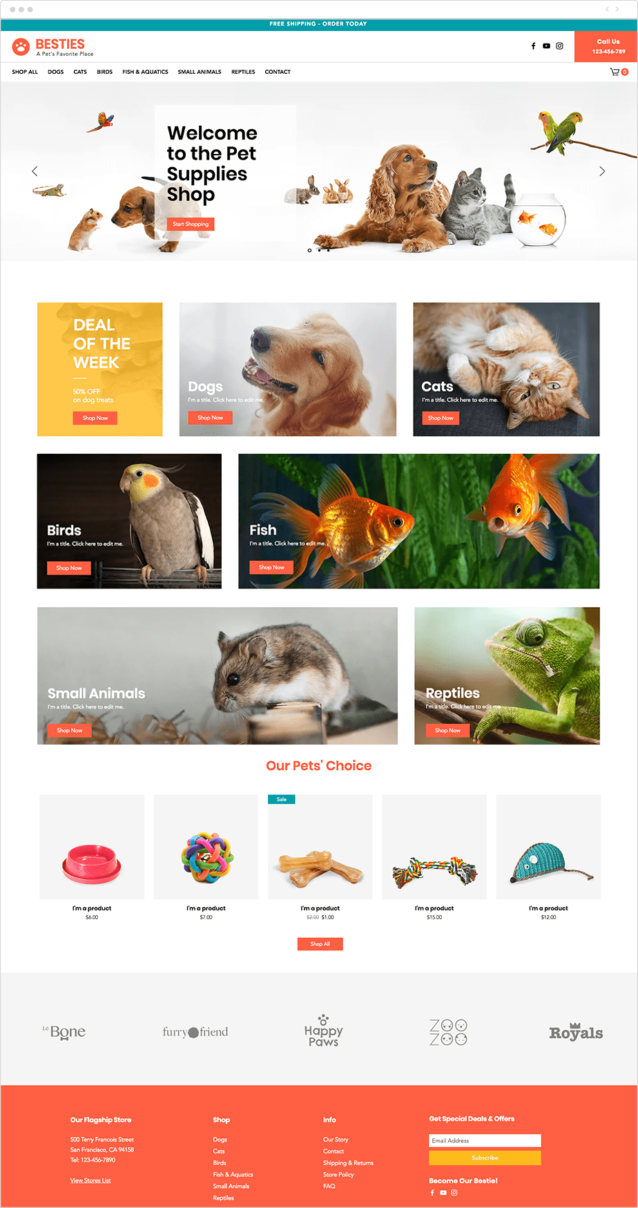 Pet supply store website template