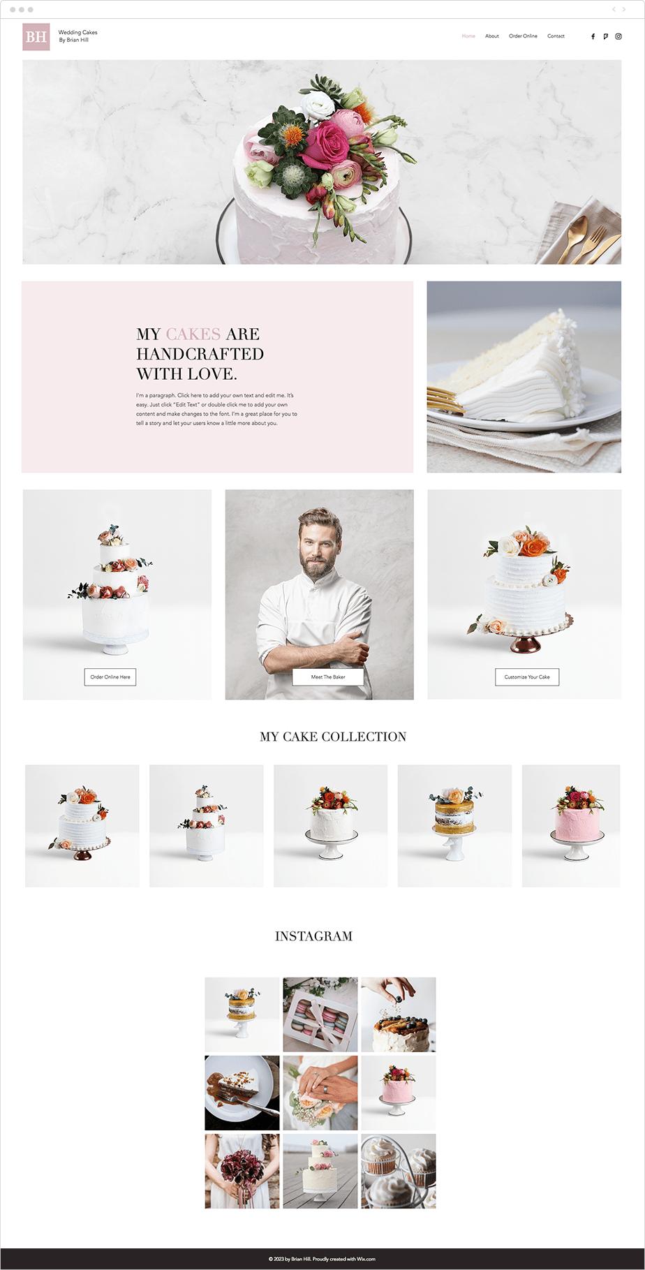 Wedding cakes website template