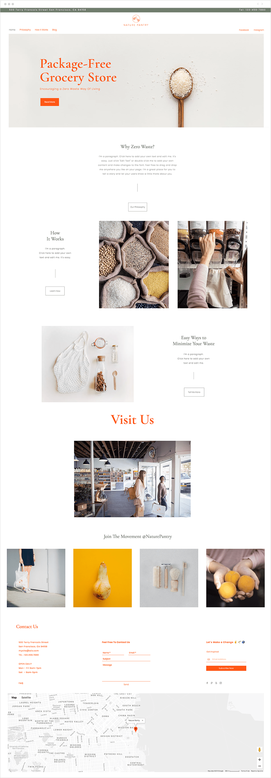 Zero waste store website template