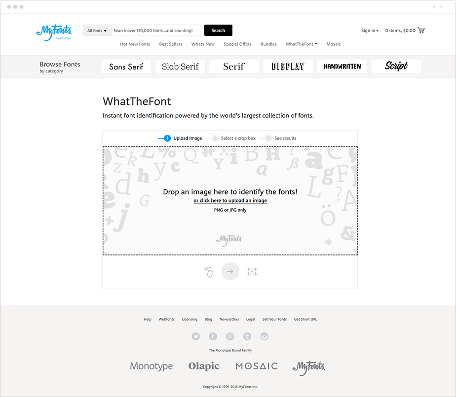 MyFonts tool to find fonts in images