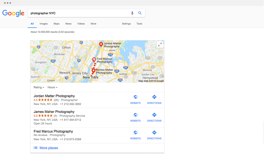Google Map showing up on search results