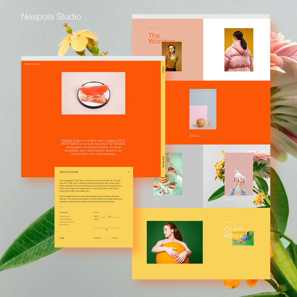 Creative director website template design with bold colors
