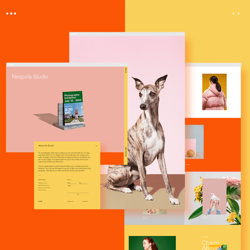 Warm bold colors in website template design