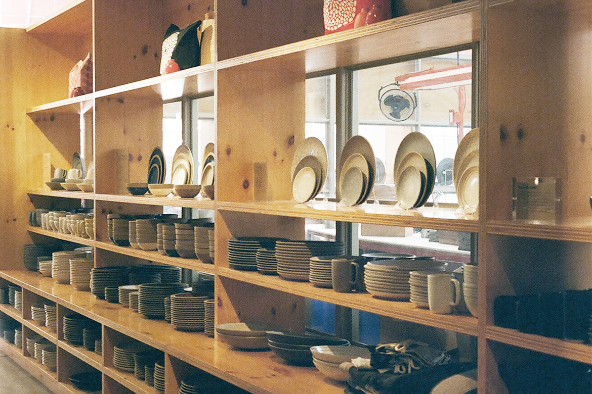 Colorful ceramic pots and jars at Heath Ceramics San Fransisco
