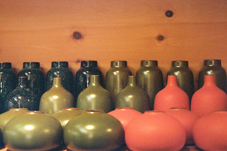 Colorful ceramic pots and jars at Heath Ceramics San Fransisco