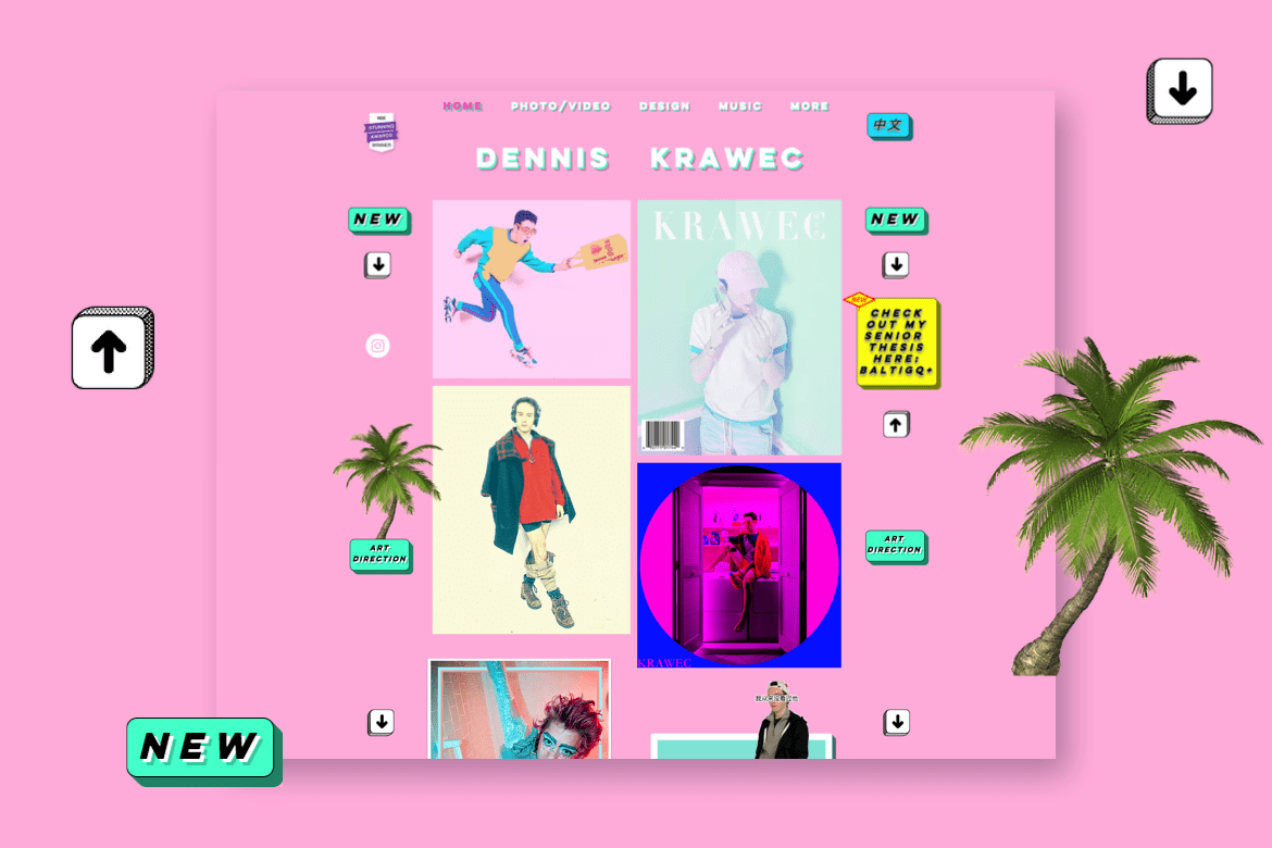 Bright colors and pop themed design for a graphic designer's portfolio