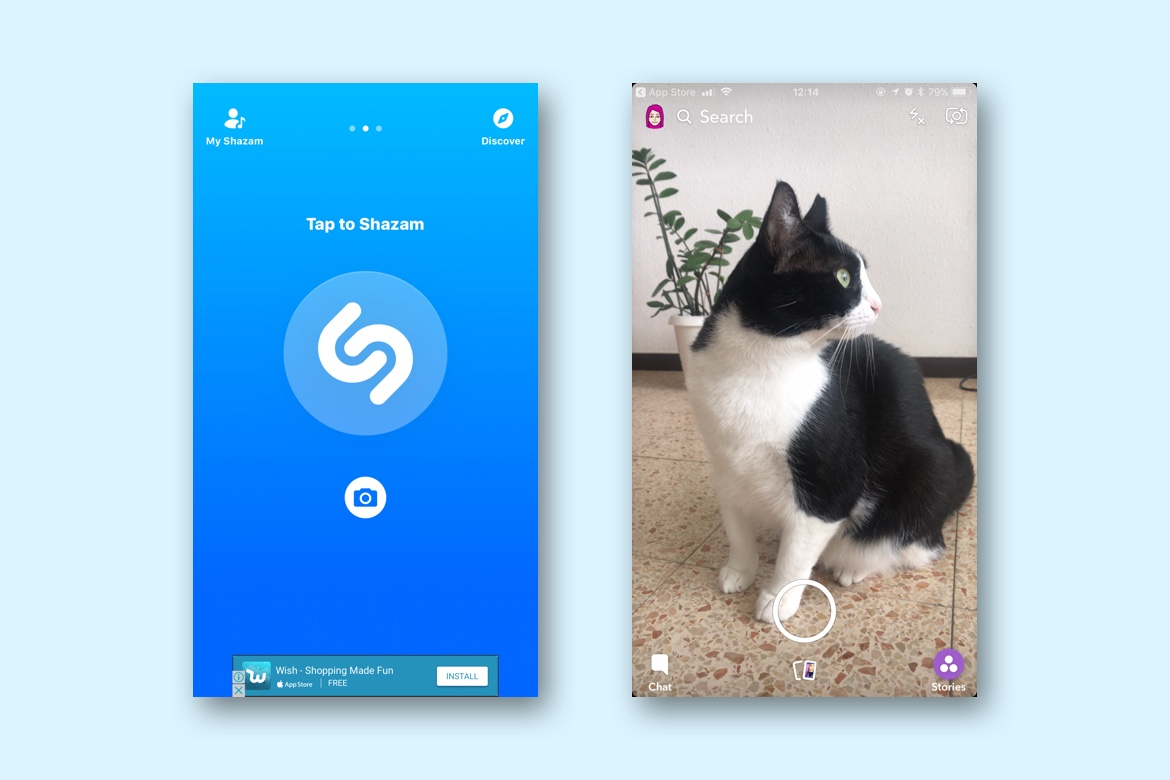 Shazam app and Snapchat app with cat