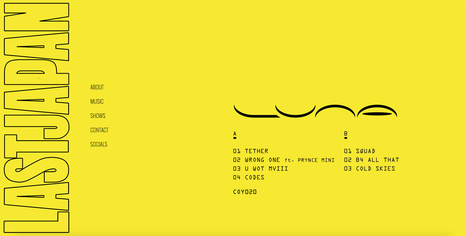 A use of yellow in a website designed by Jase Coop for Last Japan