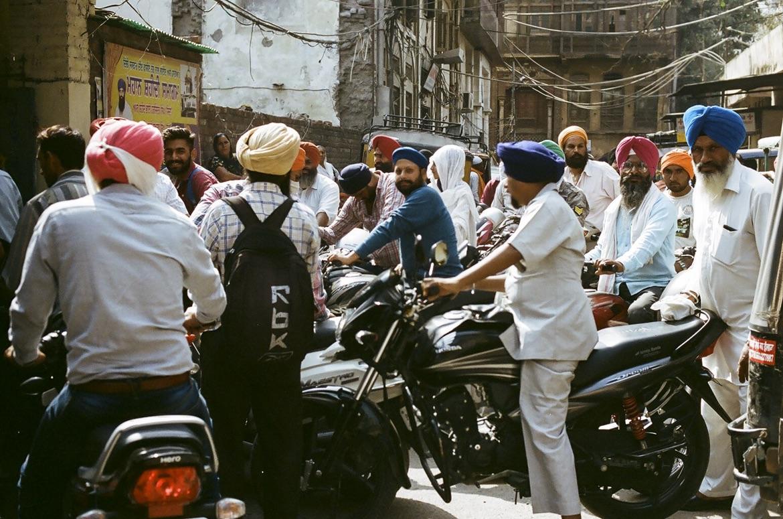 Traffic jam in busy Delhi street