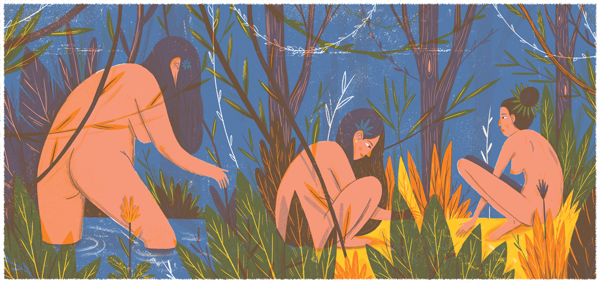 Bathing in the lake illustration by Or Yogev