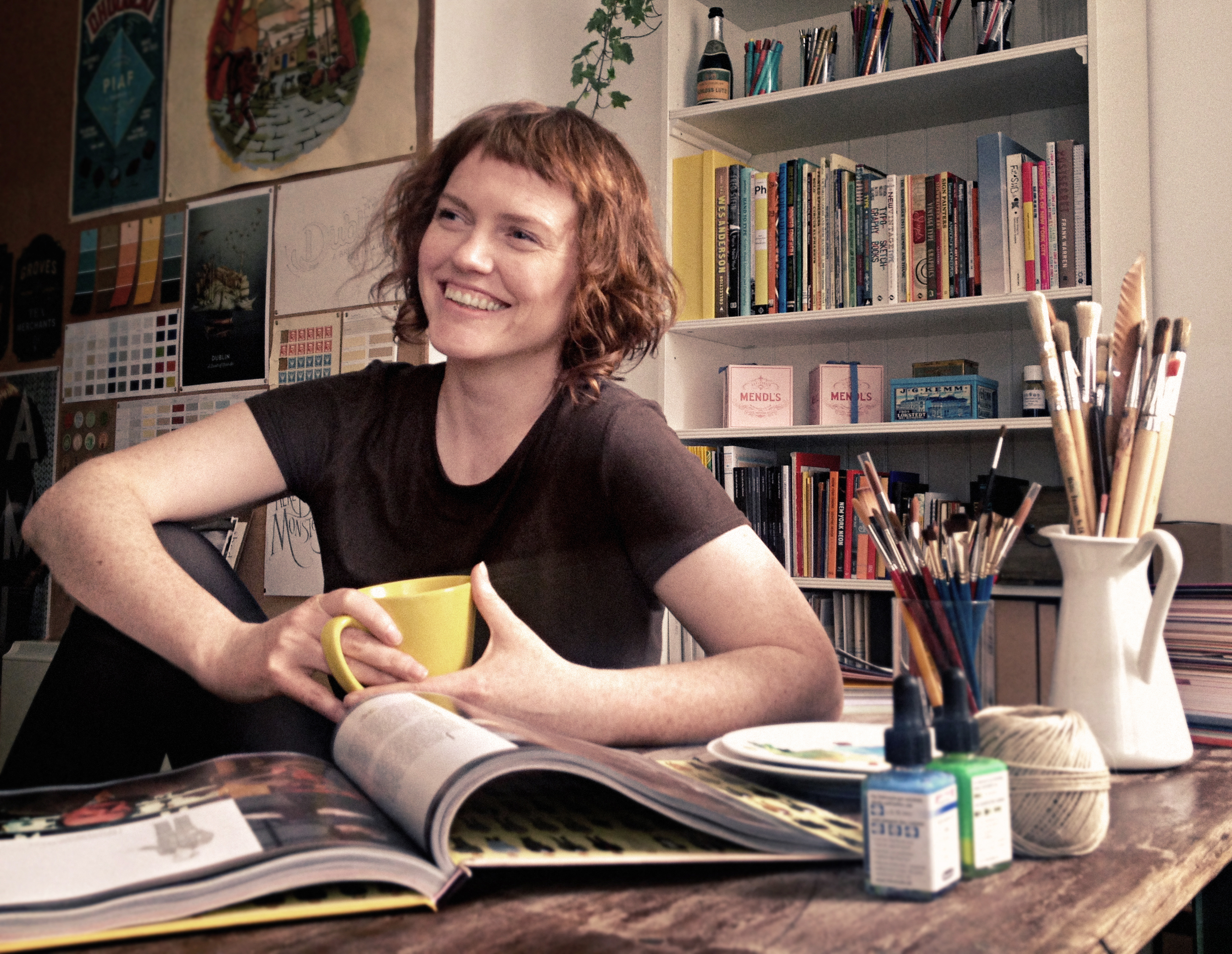Annie Atkins, graphic designer for film, in her studio