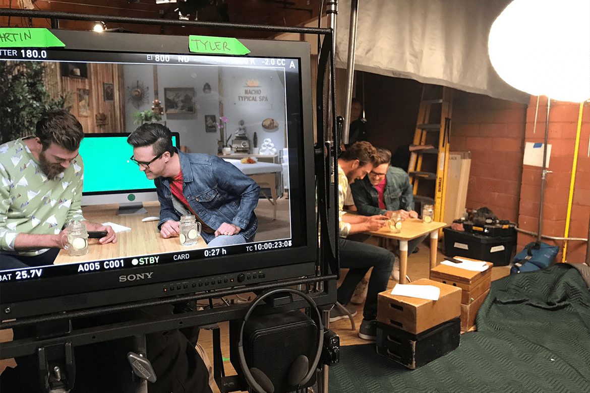 Set design for Wix's Rhett & Link campaign