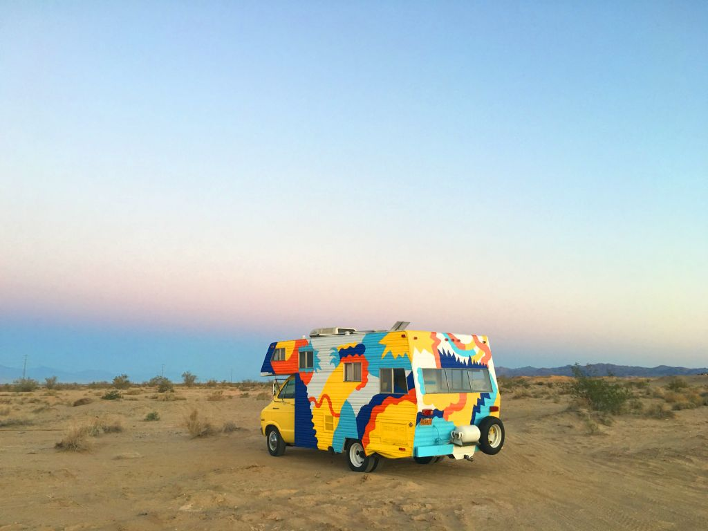 Frankie Ratford's Colorful Campervan in the Nature