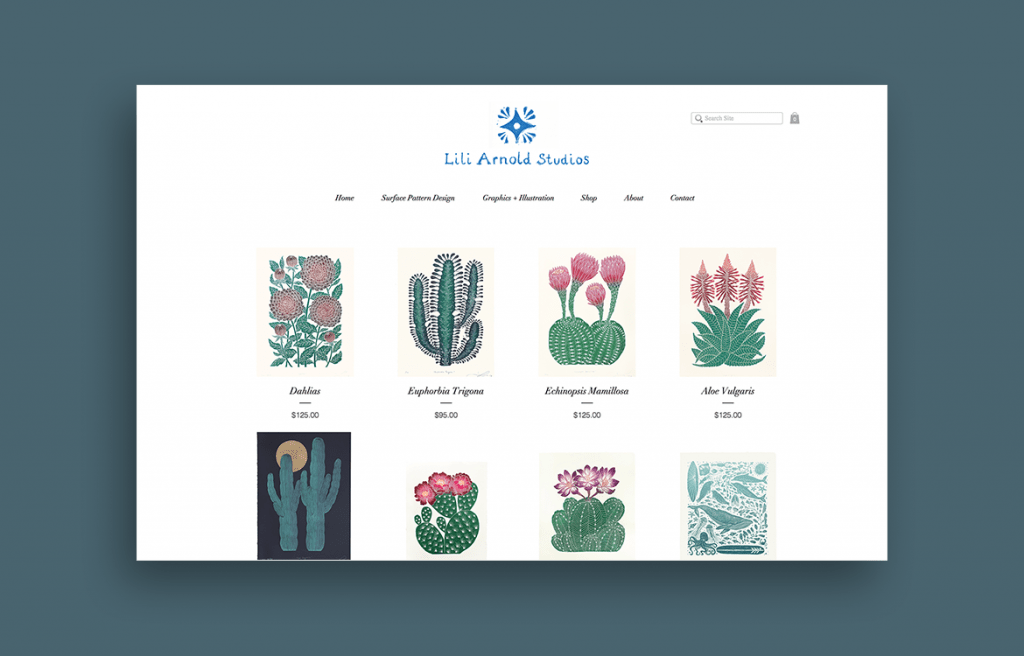 Lili Arnold linocut prints of cactuses