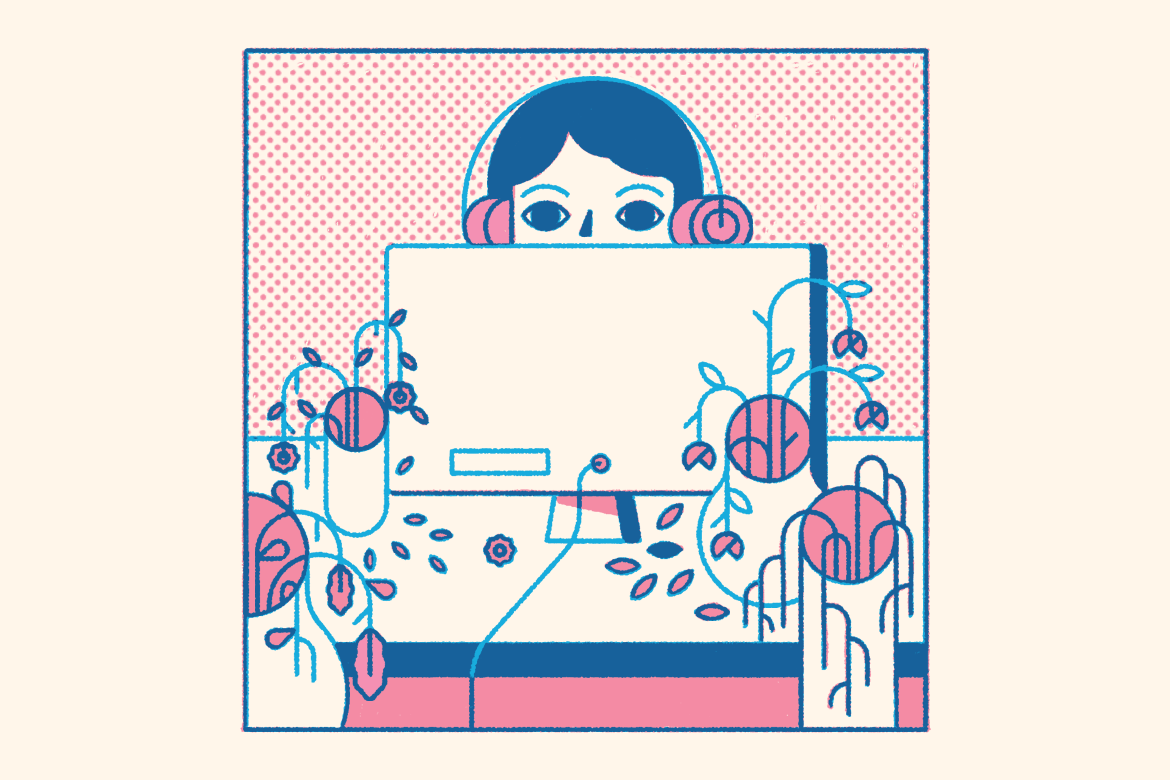 Halftone pattern with computer and plants