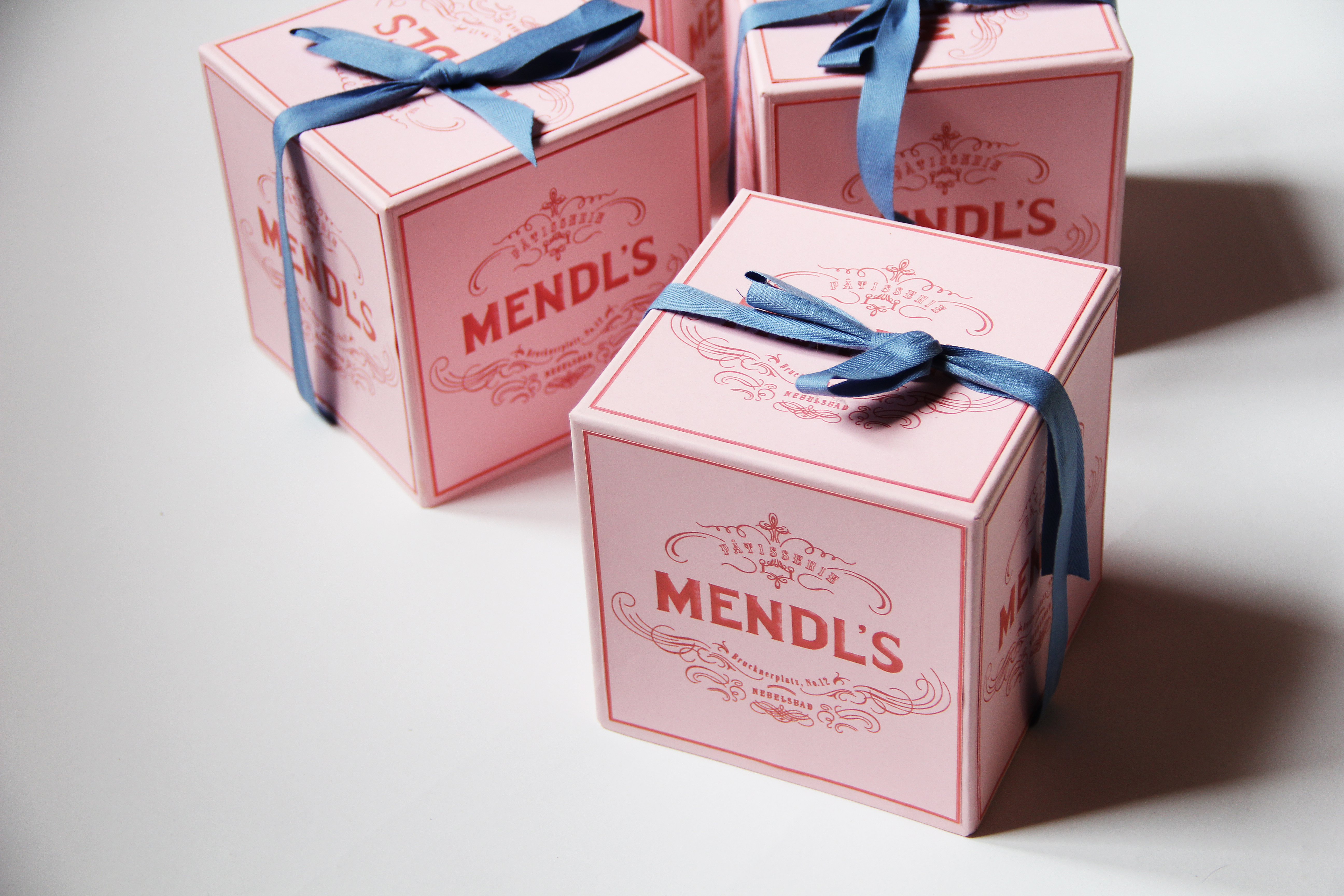Mendl's box. Graphic design for film by Annie Atkins. For Wes Anderson's The Grand Budapest Hotel.