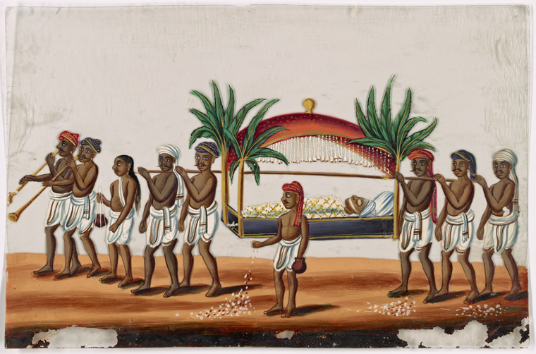 Funereal procession, illustration from the New York Public Library Digital Collections