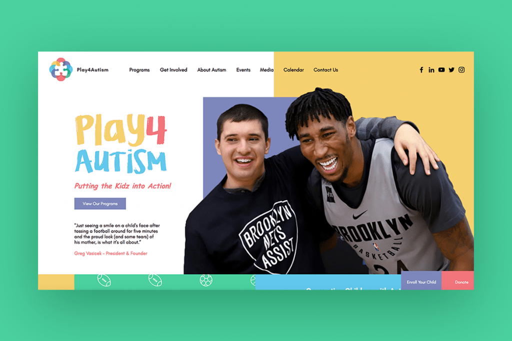 Play 4 Autism nonprofit organization's website