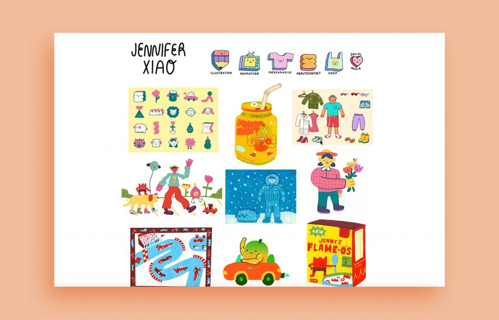 Jennifer Xiao illustration portfolio web design inspiration