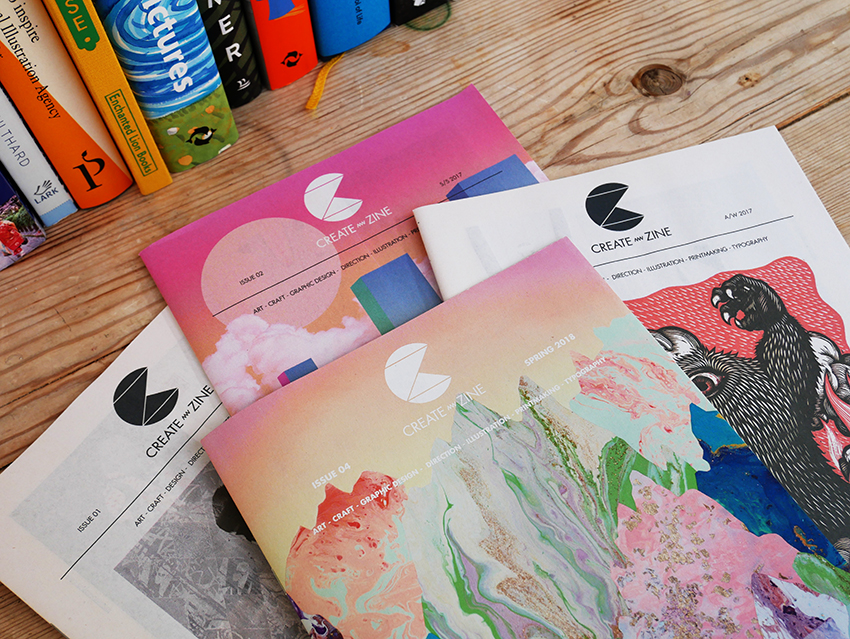 The front covers of the first four issues of Create Zine
