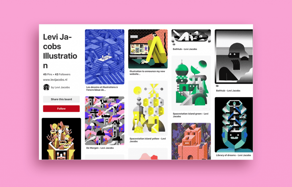 Pinterest board by illustrator Levi Jacobs
