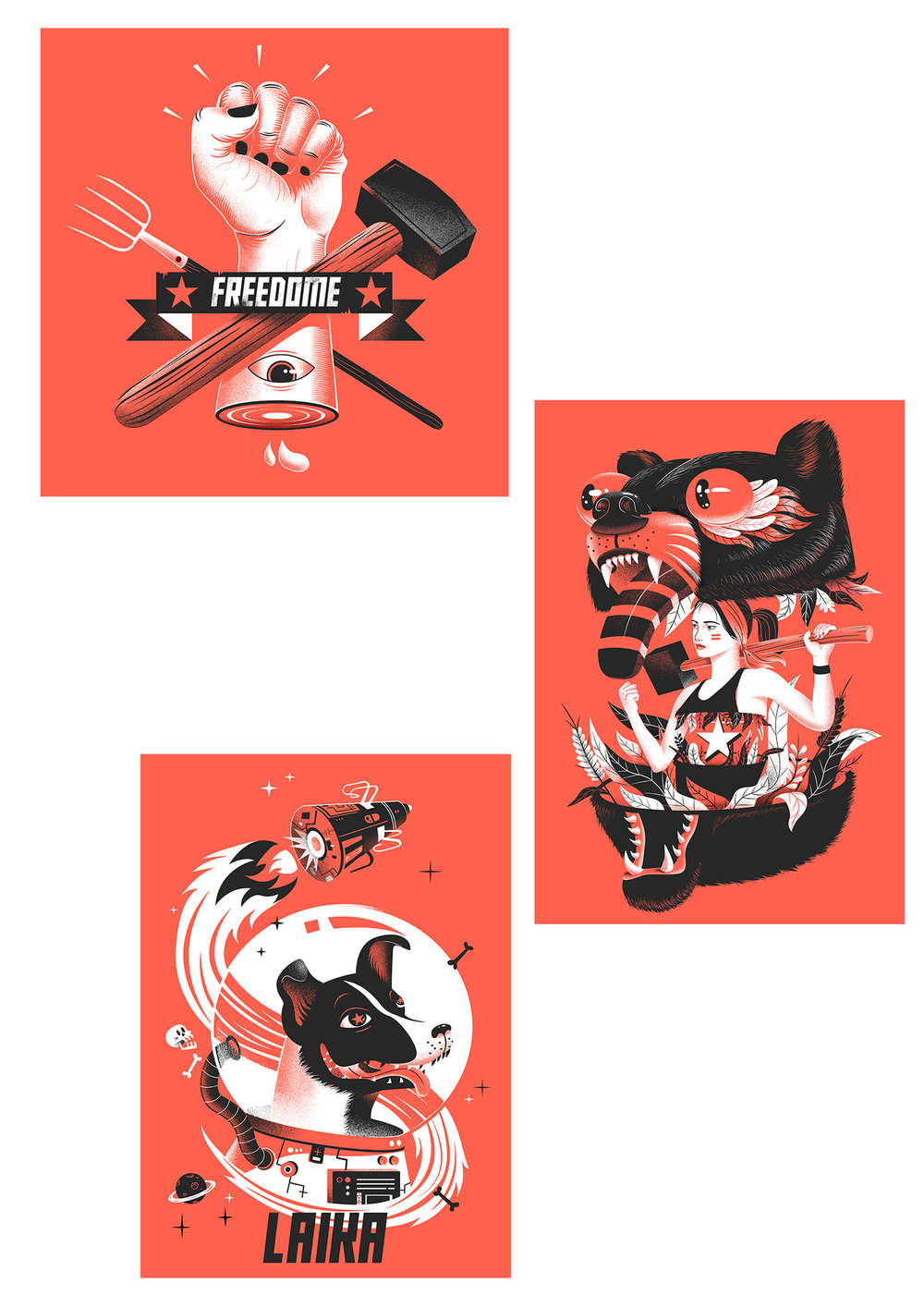 Pierre Kleinhouse illustrations for the Museum of Communism, Prague