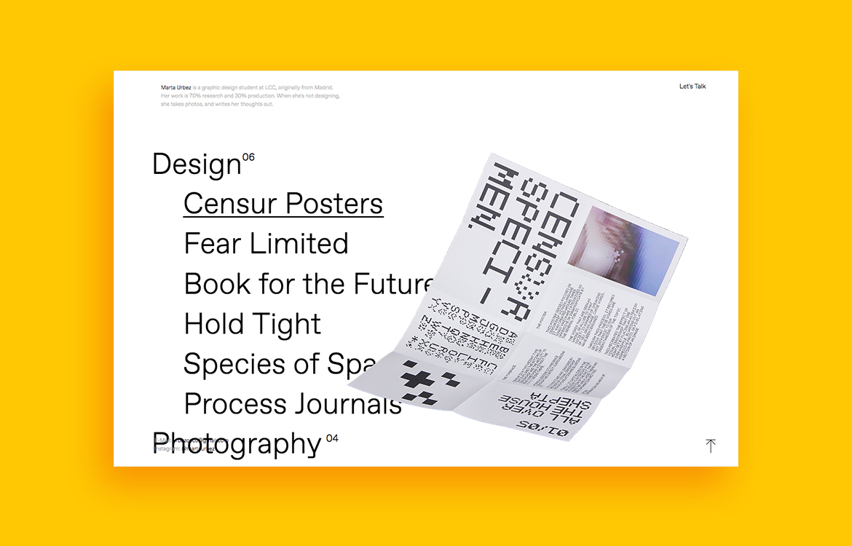 Marta Urbez portfolio website