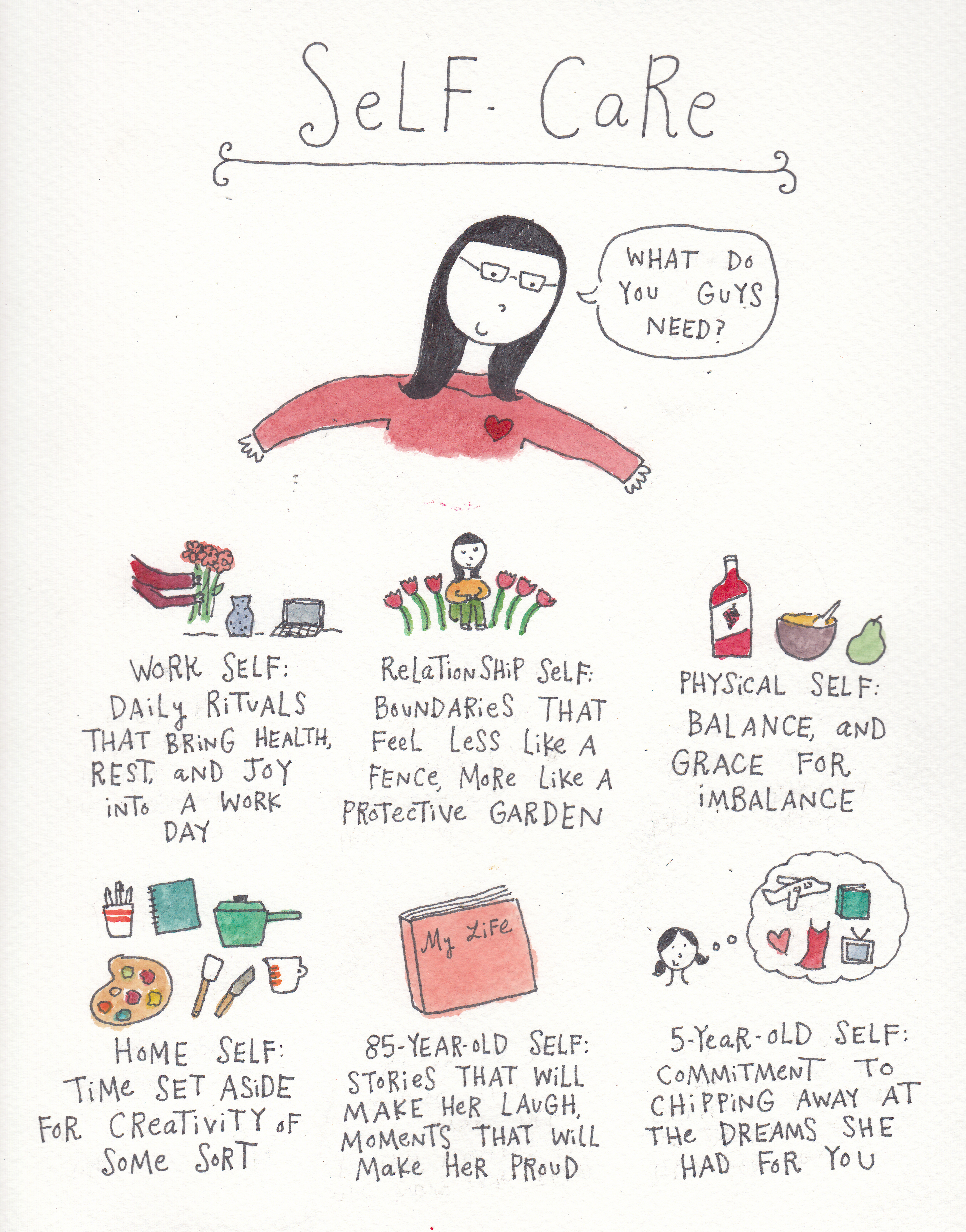 Self care illustration by Mari Andrew