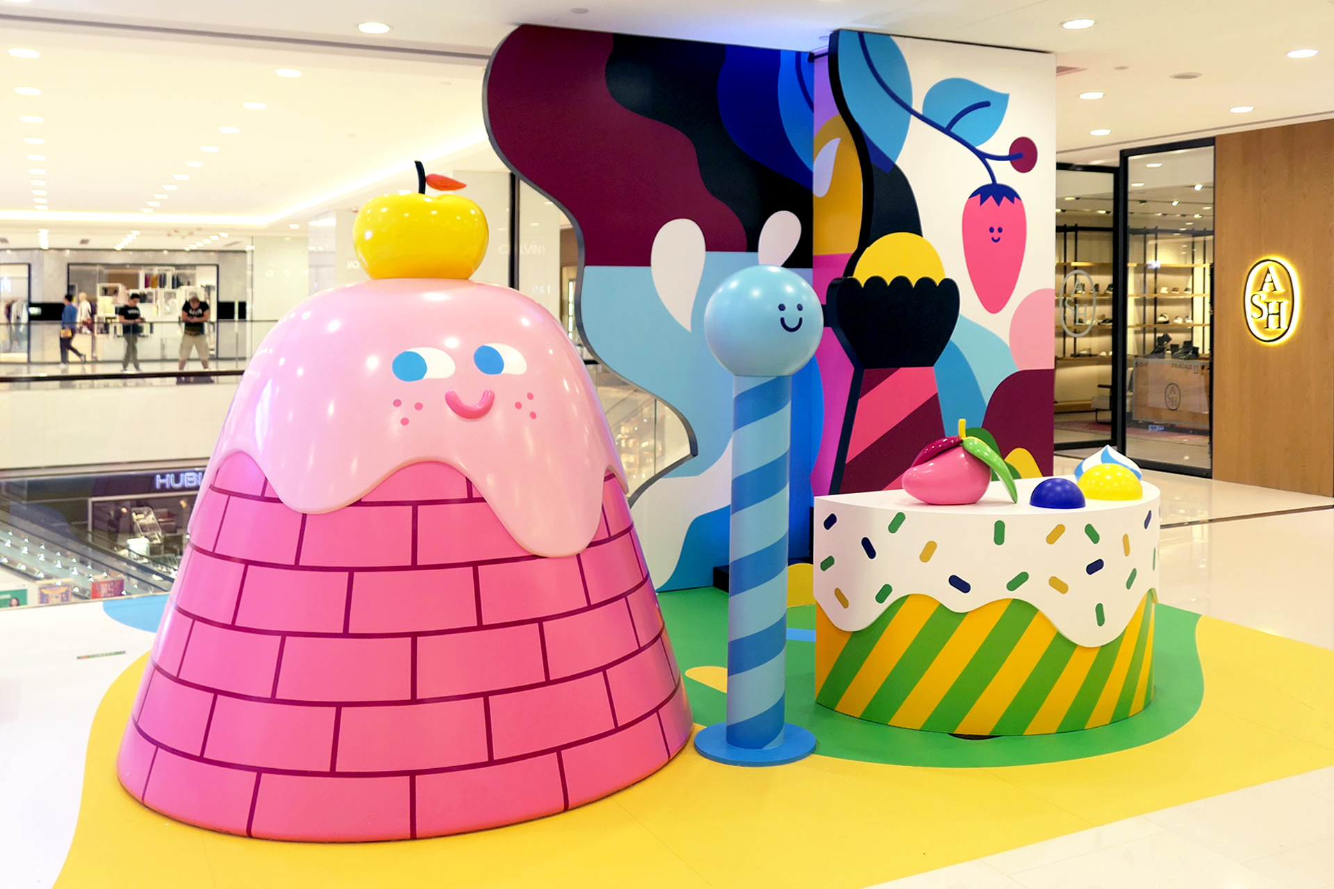 Hedof's illustration and 3D installation for LCX shopping mall, Hong Kong