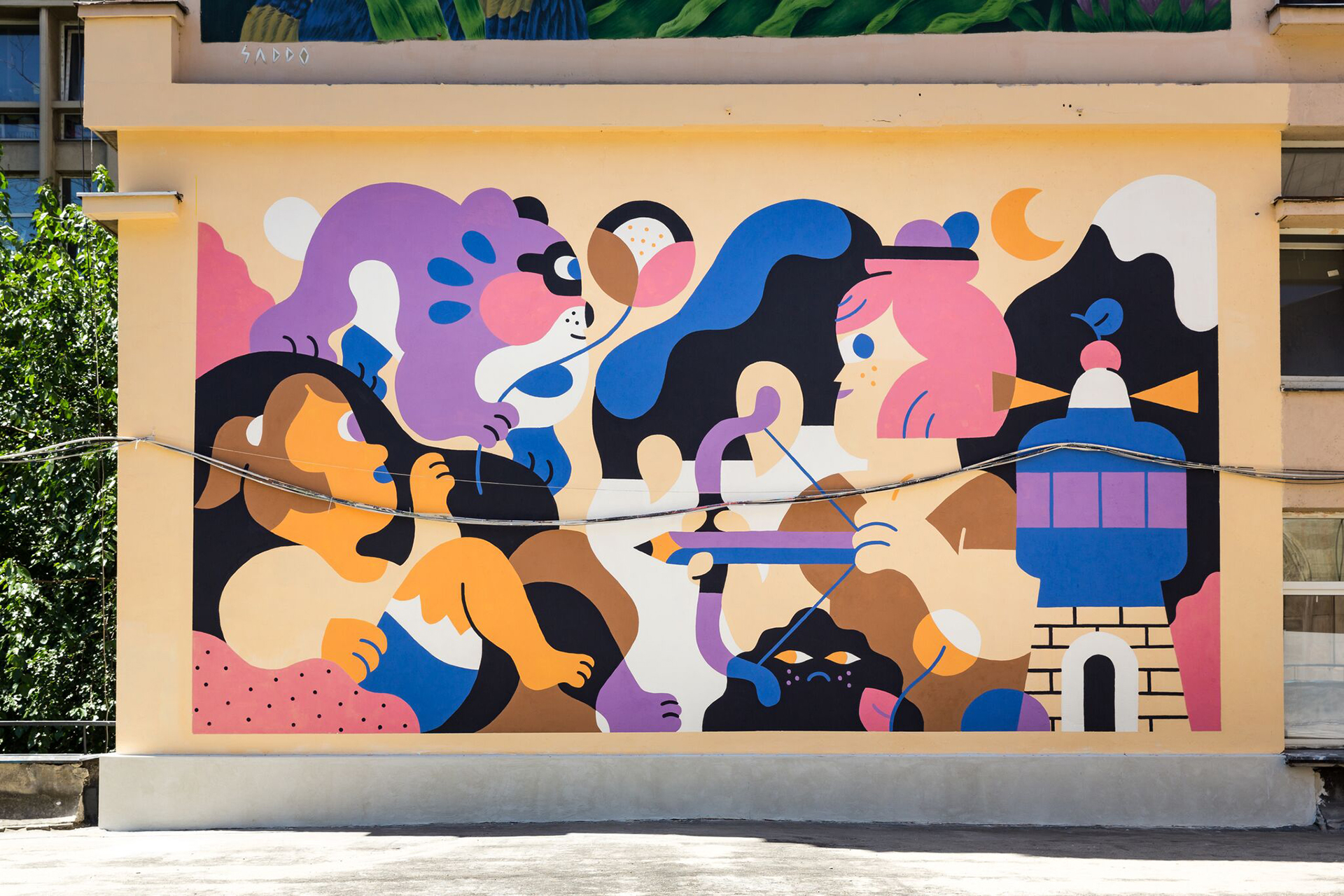 Illustrator Hedof's mural for Visual Playground design festival
