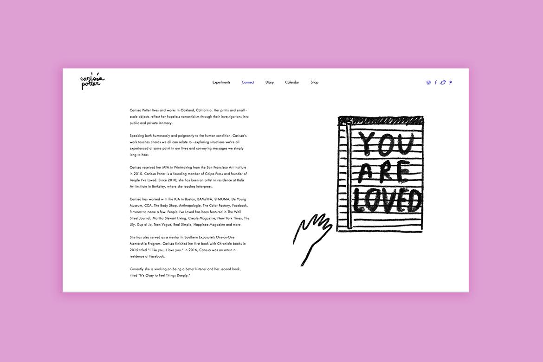 Wix design portfolio by Carissa Potter