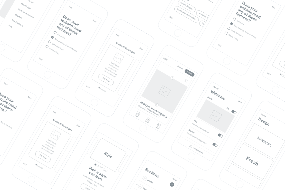 Wireframe mobile screens