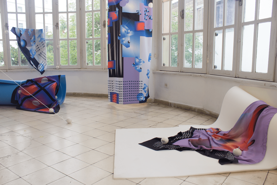 Textile design by Noam Noy, installation view