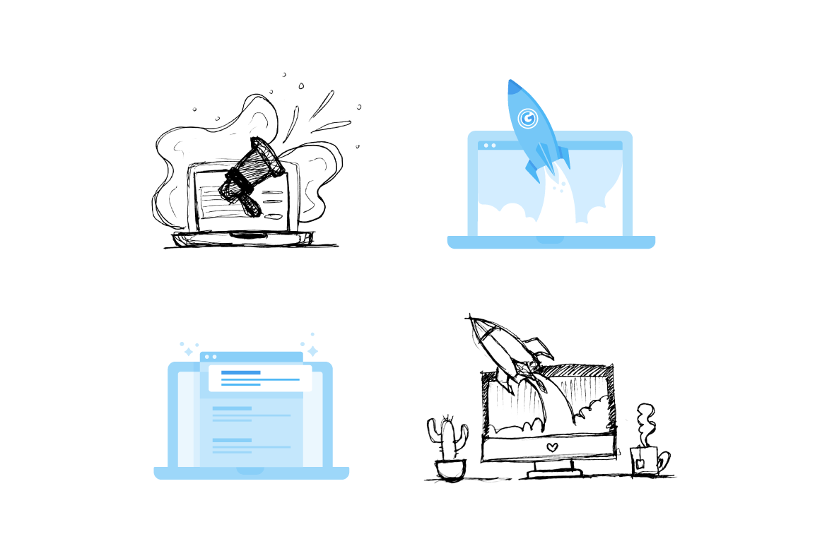 A UX spot illustration and preliminary sketches for the Wix interface