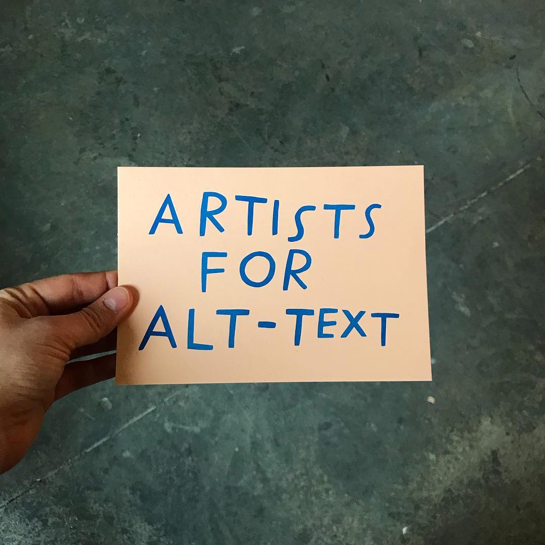 Hand-drawn note reading 'Artists for Alt-Text' by Shannon Finnegan