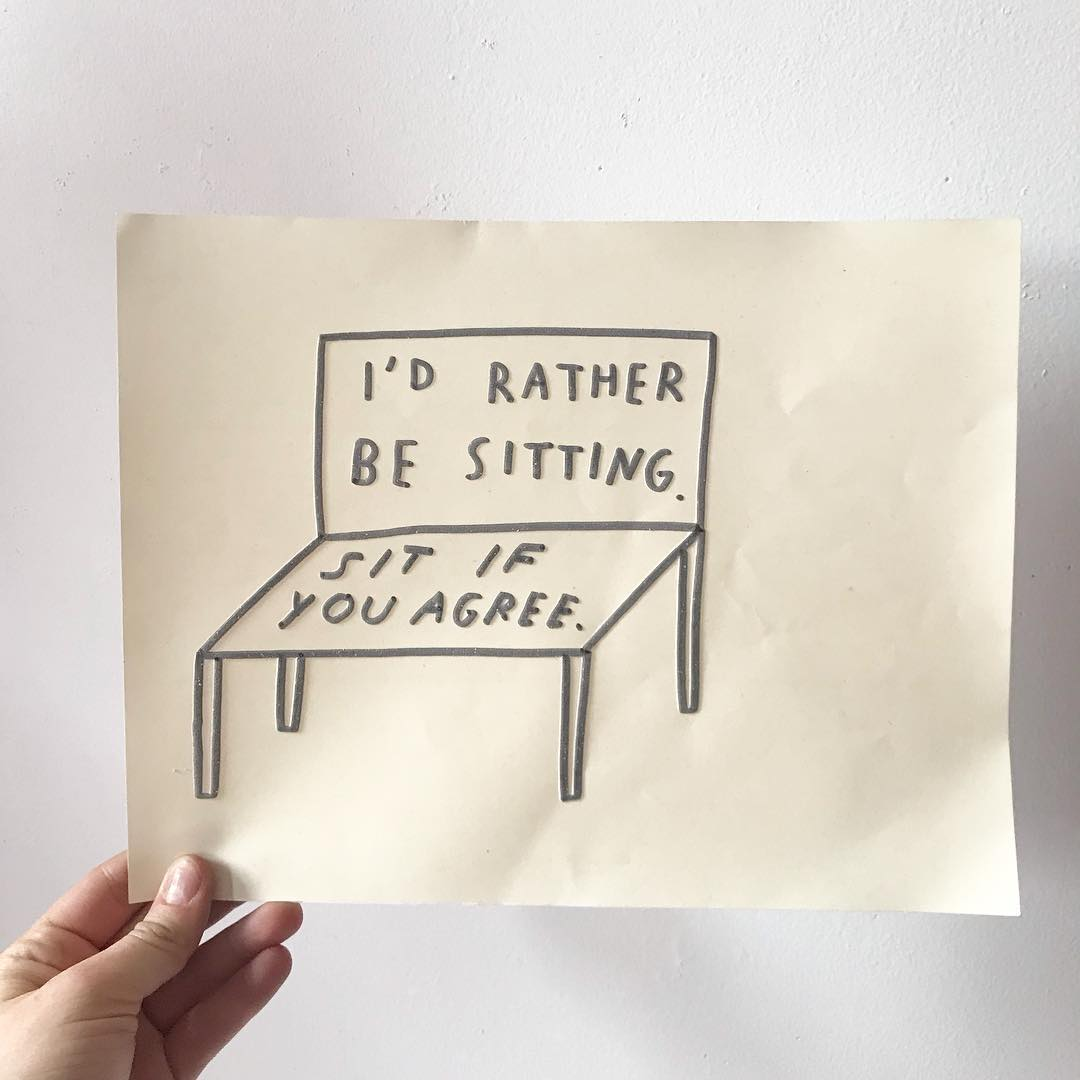 Hand-drawn sketch by Shannon Finnegan showing a bench that reads, I'd Rather Be Seating, Sit If You Agree.