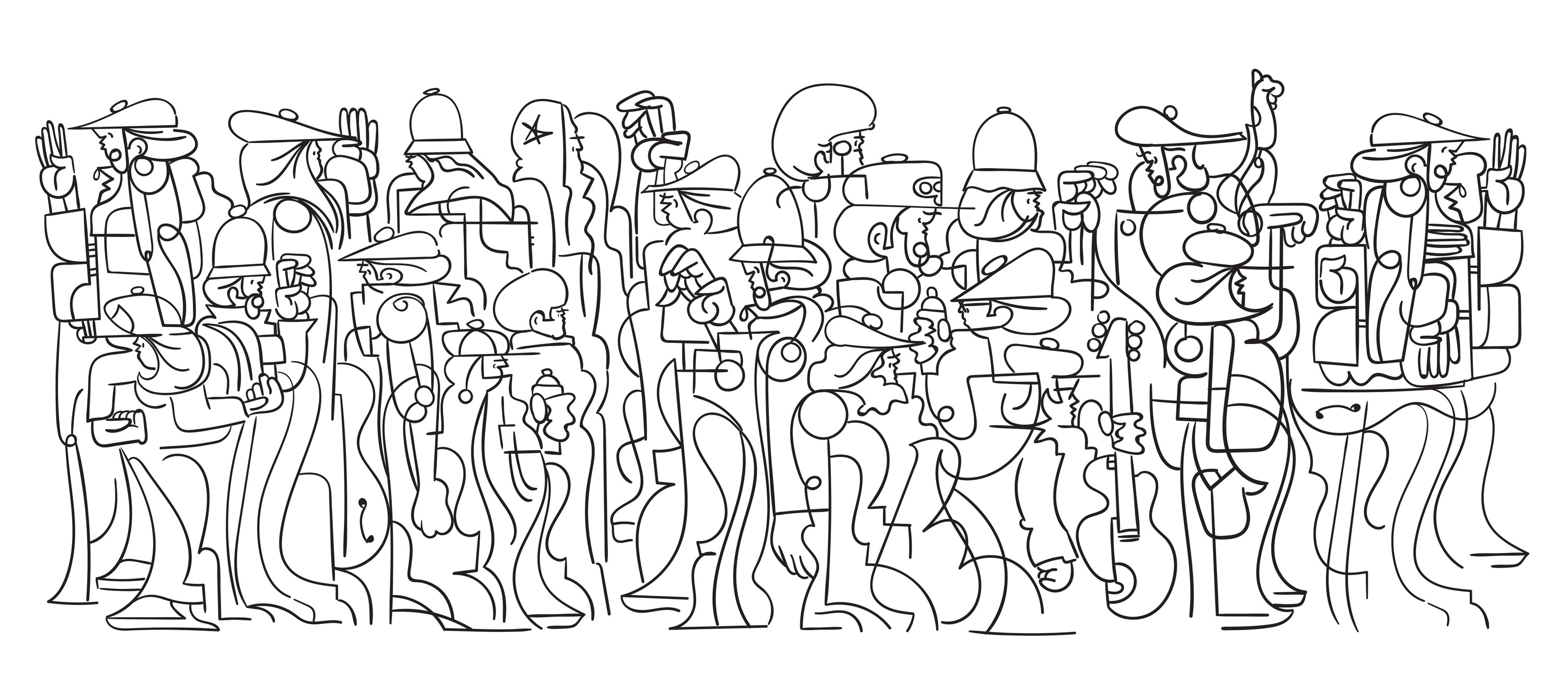Digital line work illustration of a group of people by by Ryan Seslow