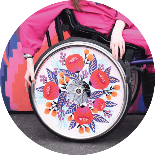 Wheel cover design by Jess Phoenix, for Izzy Wheels