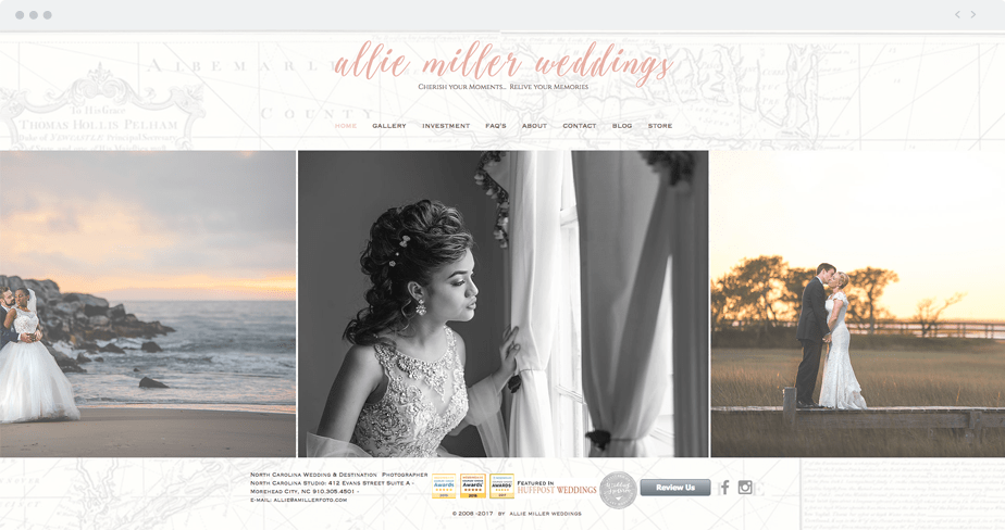 Stunning Wix online portfolio by wedding photographer Allie Miller