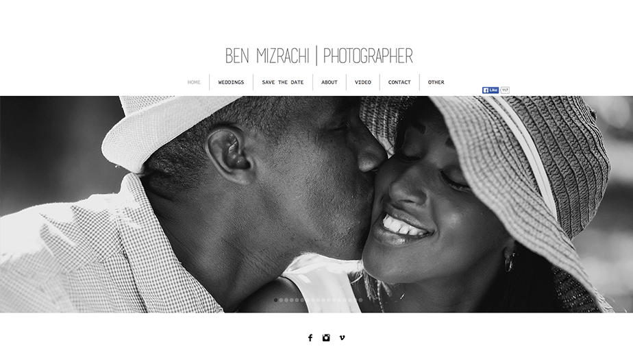 Beautiful Wix photography website by wedding photographer Ben Mizrahi