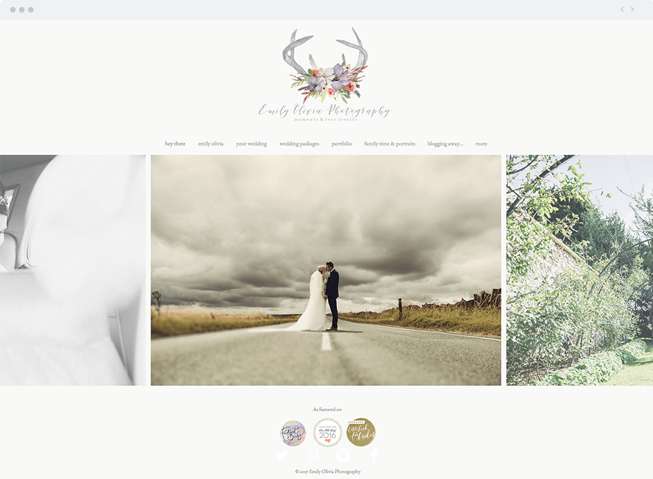 Stunning Wix online portfolio by wedding photographer Emily Olivia